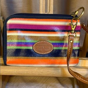 Fossil leather multicolored zip around wristlet